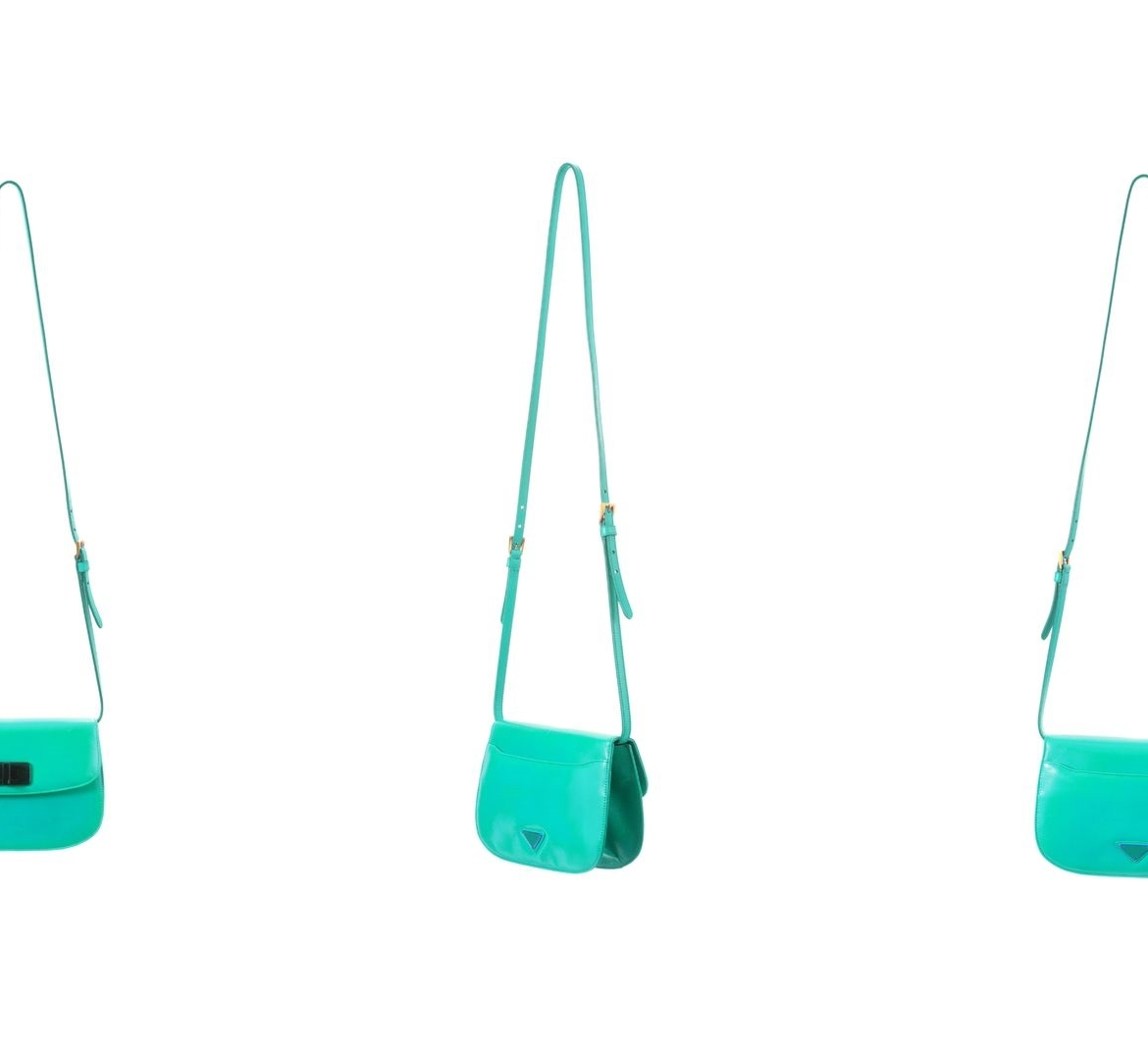 3 images of a teal colored crossbody bag