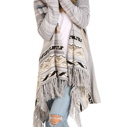 model wearing a cozy grey long wrap around sweater with tribal print