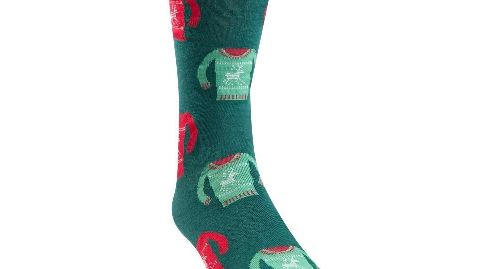 christmas novelty sock with an ugly christmas sweater pattern on it