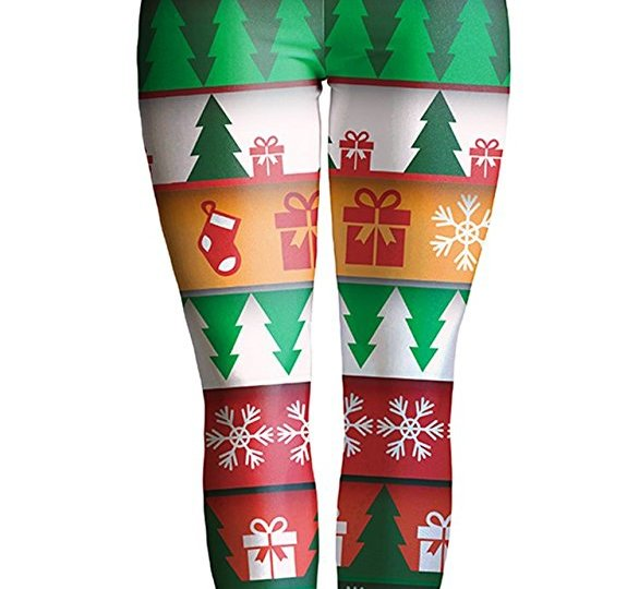 christmas novelty leggins with holiday pattern