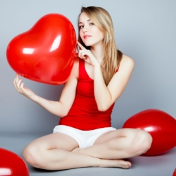 single valentines day woman holding red heart balloon