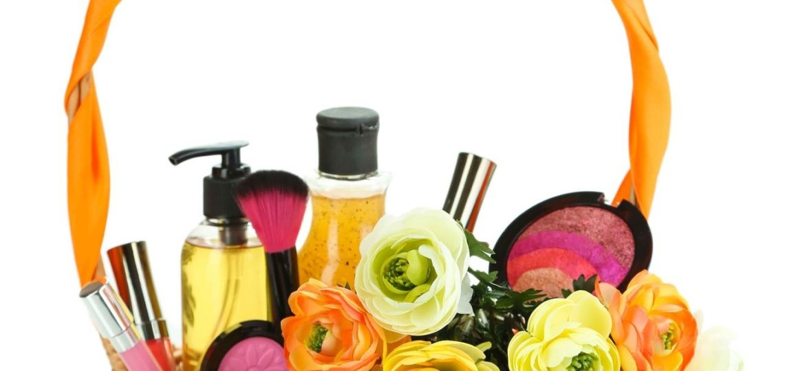 mother's day gift basket filled with spa items