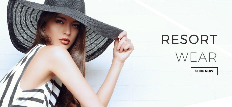 screenshot of the-e-tailer's new website look featuring their 'resort wear' lookbook