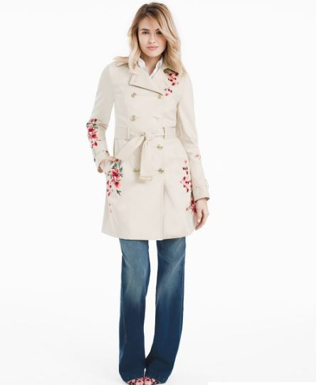 Double Breasted Floral Embroidered Trench Coat