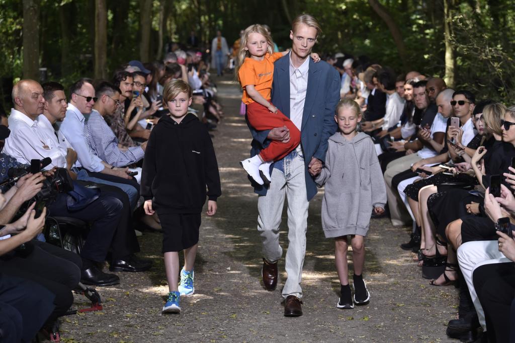 Balenciga fashion runway in woods