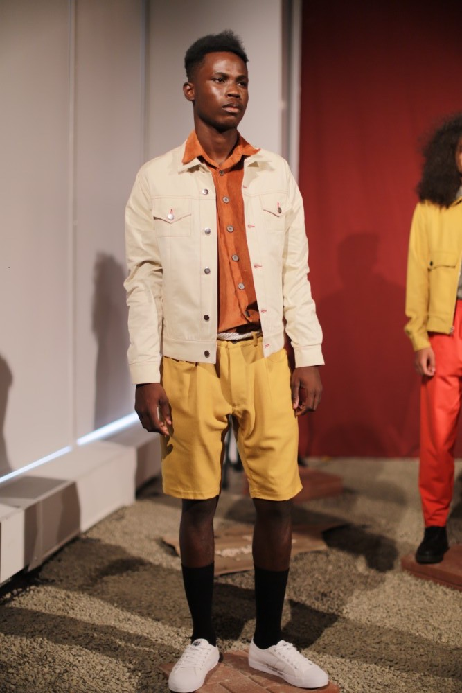 Man wearing yellow shorts with button up jacket