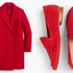 Red coat and shoes